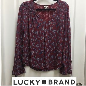 Lucky Brand Burgundy Floral Long Sleeve top